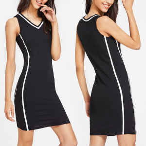 Fashion Women Leisure Casual V-Neck Stripe Sportwear Dress pictures & photos