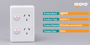 Australia Type Double Powerpoints Switch Wall Socket 250V pictures & photos
