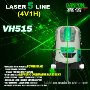360 Degree Rorating Laser Liner Green Beam Five Lines Matched with Power Bank pictures & photos