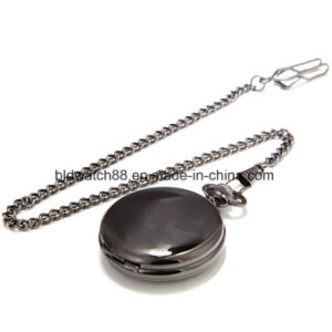 Vintage Roman Flower Numerals Full Black Men Pocket Watch for Gift pictures & photos