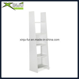 Modern White/Wood Grain 4 Layer Bookshelf pictures & photos