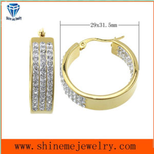 Shineme Jewelry High Quality Best Price Stainless Steel Plating Gold Earring with CZ (ERS6903) pictures & photos