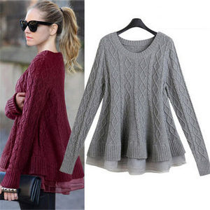 2016 Organza Splicing Knit Pullover Sweater pictures & photos