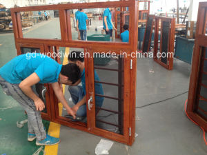 Powder Coated Wooden Color Aluminum Double Glass Window pictures & photos