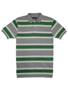 Quality Cotton Lycra Jersey Striped Man′s Polo Shirt of V-Neck pictures & photos