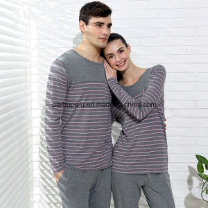 Wholesale Knitting Modal Home Suits Men Striped Long - Sleeved Pajamas pictures & photos