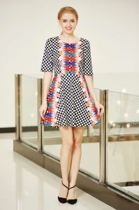 Placement Printing MIDI Skater Dress pictures & photos