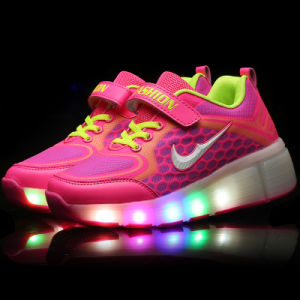 LED Flash High Heel Kids Roller Light up Skate Shoes pictures & photos