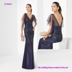 Lace Flare Short Sleeve Beading Sheath Evening Dress with V Back pictures & photos