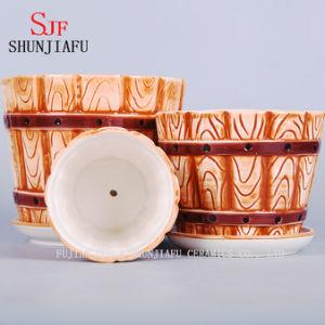 3 Sizes Barrel Shape Flowerpot with Attached Saucers Ceramic Pots pictures & photos