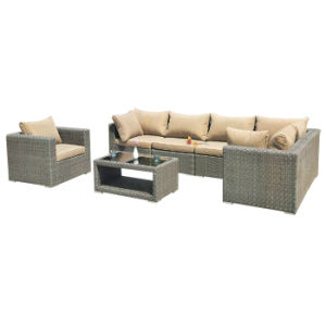 Outdoor Garden Balcony Furniture Black Wicker Home Use Corner Sofa Set pictures & photos