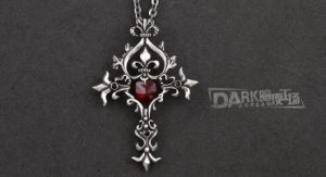 China Alloy Metal Pendants Mens Gothic Cross Necklace Insert