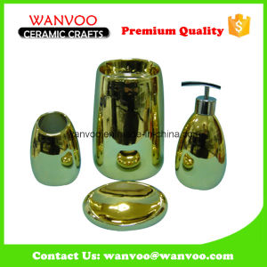 Champagne Gold Shining Luxury Ceramic Bathroom Set for Hotel Recycling pictures & photos