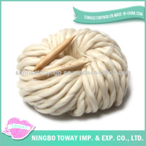 White Big Super Bulky Wool Yarn Knit Sweater Patterns pictures & photos
