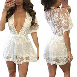 Fashion Women Sexy Slim V-Neck Lace Jumpsuit Clothes Dress pictures & photos