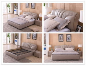 Modern Bedroom Home Furniture Euro Style Soft Double Leather Bed pictures & photos