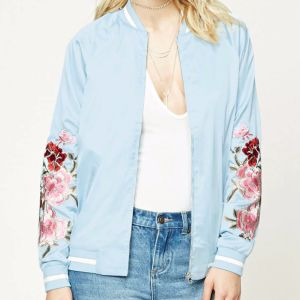 Ladies Fashion Rose Embroidery Satin Short Jacket Blouse pictures & photos