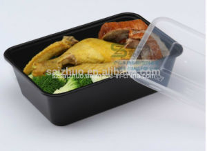 Black Single Compartment Disposable Plastic Food Container Lunch Box (SZ-L-1000) pictures & photos