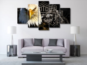 HD Printed Eagles Motorcycle Painting Canvas Print Room Decor Print Poster Picture Canvas Mc-007 pictures & photos