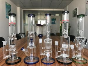 2017 Hot Sale Grace Glass-Straight Ice Smoke Water Pipe with Double Barrel pictures & photos
