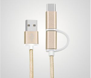 2 in 1 Type C, Micro Nylon Covered Data and Charge Cable for Mobile Phone pictures & photos