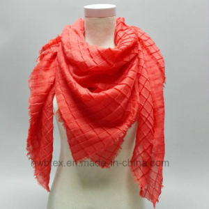 Plain Dyed Viscose Square Scarf with Crinkle Effect (HWBVS038) pictures & photos