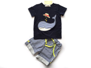 Short Sleeve T-Shirt and Striped Shorts Suits for Kids (A702) pictures & photos
