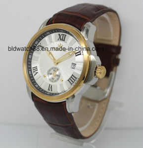 2017 New Fashion Men Stainless Steel Chronograph Watch with Leather Band pictures & photos