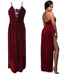 Fashion Women Sexy Slim Velvet V-Neck Bandage Slip Dress pictures & photos