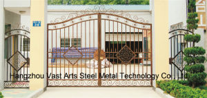 Haohan High-Quality Exterior Security Decorative Wrought Iron Fence Gate 21 pictures & photos