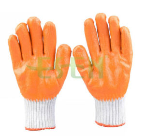 7 Gauge 100% Cotton String Knitted Orange Latex Coated Palm Work Gloves pictures & photos