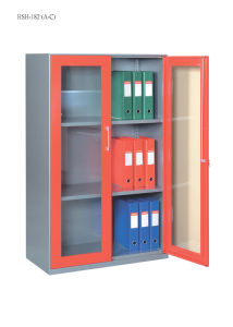 Steel Storage Cabinet Office Furniture with Double Swinging Steel Framed Glass Doors Cabinet/File Cabinet for Japan Market