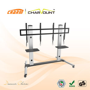 High Quality 2 Tiers Tempered Glass Moving TV Stand Has Wheels (CT-FTVS-T404) pictures & photos