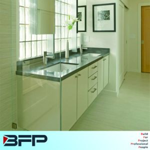 Soft-Closing Black Stone Bench Top Kitchen Vanity Cabinet Lacquer Surface pictures & photos