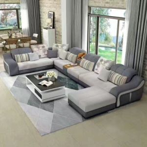 U Shape Modern Fabric Sofa, Promotion Price Sofa (T-01) pictures & photos
