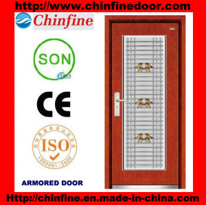 Steel-Wood Armored Door with Stainless Steel Window (CF-M044) pictures & photos
