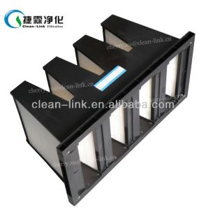 Plastic Frame V-Type Filter Pleated Air Filter pictures & photos
