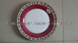 Fine Bone China Dinner Plate With Ruby Color and Gold Design