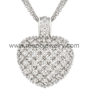 Reeoojewelry Silver Plated Micro Pave Heart Pendant Jewelry Accessories