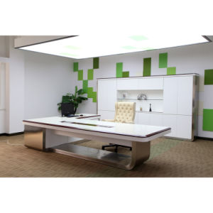 Modern American Walnut White Finish Stainless Steel Office Table (DA-231)