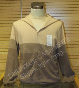 100% Pure Cashmere Women′s Grey Hoodie Zipper Cardigan Sweater