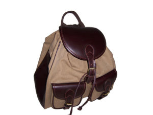 Canvas and Top Quality Genuine Leather Backpack (TB050CA)