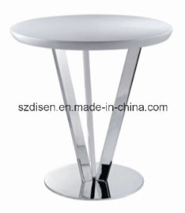 Modern Small Round Dining Table with Chromed Steel Leg (DS-T13) pictures & photos
