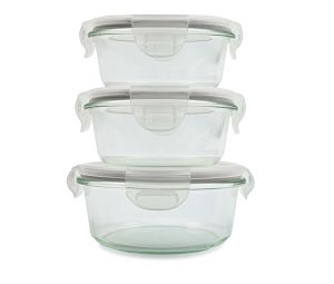 High Quality Round Borosilicate Glass Food Containers, 350ml, 800ml, 1500ml (GFC-R) pictures & photos