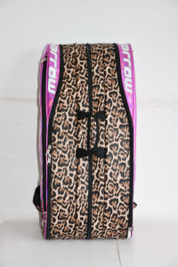 Leopard Print Leather Tennis Racquet Racket Backpack Bags for 6 Racquet pictures & photos