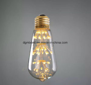 3W, Edison ST58 LED Light Bulb, Fireworks Starry, Ultra warm 2200K, Decorative For Pendant Lamp, Dimmable pictures & photos