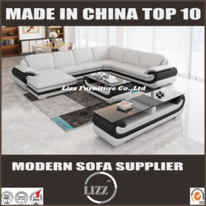 Modern Top Grain Leather Living Room Sofa with Ottoman pictures & photos