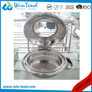 Stainless Steel Electrolytic Luxury Roll Top Glass Lid Round Chafing Dish for Sale with Fuel Holder pictures & photos