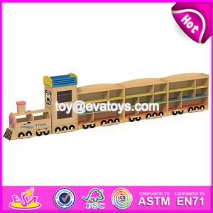 Best Design Kids Preschool Furniture Cartoon Train Shape Wooden Storage Shelves W08c200 pictures & photos
