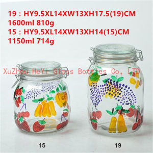 1500ml Candy Glass Jar Food Container with Glass Lid pictures & photos